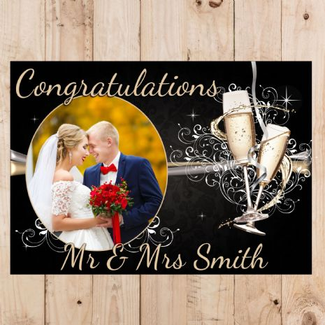 Personalised Wedding Engagement Congratulations Party PHOTO Banner Poster N47
